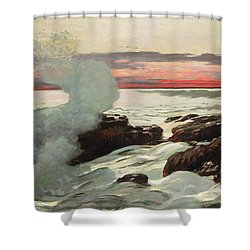 West Point Prouts Neck Shower Curtain by Winslow Homer