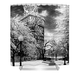 Western Auto In Winter Shower Curtain by Steve Karol
