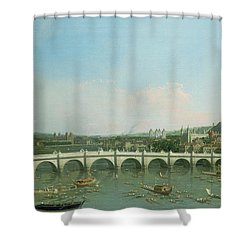 Westminster Bridge From The North With Lambeth Palace In Distance Shower Curtain by Canaletto