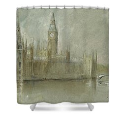 Westminster Palace And Big Ben London Shower Curtain by Juan Bosco