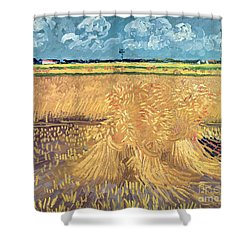 Wheatfield With Sheaves Shower Curtain by Vincent van Gogh