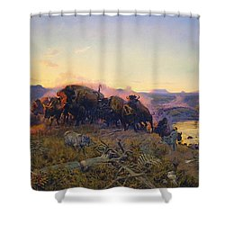 When The Land Belonged To God Shower Curtain by Charles Russell