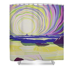 Whirling Sunrise - La Rocque Shower Curtain by Derek Crow