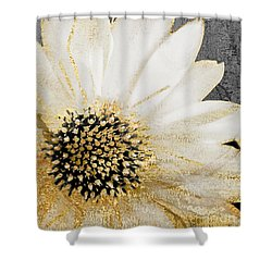White And Gold Daisy Shower Curtain by Mindy Sommers