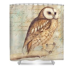White Faced Owl Shower Curtain by Mindy Sommers