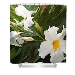 White Jasmine Shower Curtain by Corey Ford