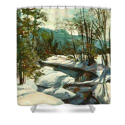 White Mountain Winter Creek Shower Curtain by Claire Gagnon