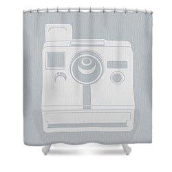 White Polaroid Camera Shower Curtain by Naxart Studio