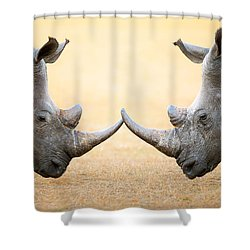 White Rhinoceros  Head To Head Shower Curtain by Johan Swanepoel