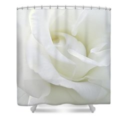 White Rose Angel Wings Shower Curtain by Jennie Marie Schell