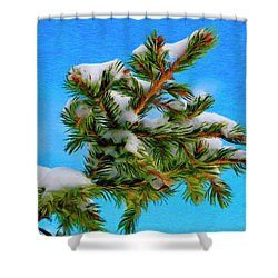 White Snow On Evergreen Shower Curtain by Jeff Kolker