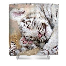 White Tiger Dreams Shower Curtain by Carol Cavalaris