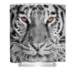 White Tiger Shower Curtain by Tom Mc Nemar