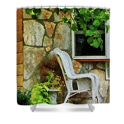 Wicker Rocking Chair On Porch Shower Curtain by Susan Savad