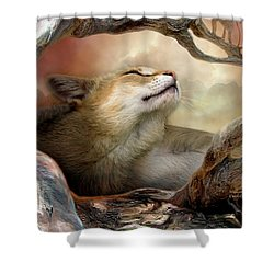 Wildcat Sunrise Shower Curtain by Carol Cavalaris