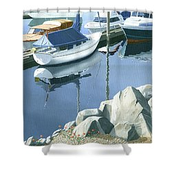 Wildflowers On The Breakwater Shower Curtain by Gary Giacomelli