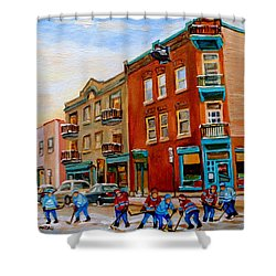 Wilenskys Diner Hockey Game In Progress Shower Curtain by Carole Spandau