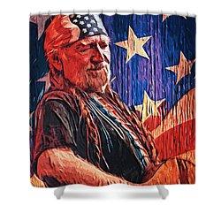 Willie Nelson Shower Curtain by Taylan Apukovska