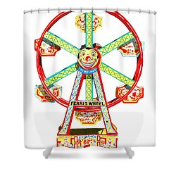 Wind-up Ferris Wheel Shower Curtain by Glenda Zuckerman