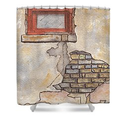 Window With Crumbling Plaster Shower Curtain by Ken Powers