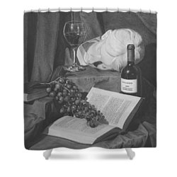 Wine And A Book Shower Curtain by Michael Malta