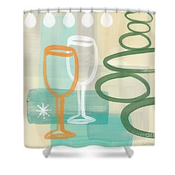 Wine For Two Shower Curtain by Linda Woods