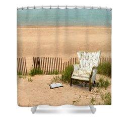 Wingback Chair At The Beach Shower Curtain by Jill Battaglia