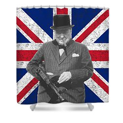 Winston Churchill And His Flag Shower Curtain by War Is Hell Store