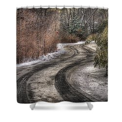 Winter - Road - The Hidden Road Shower Curtain by Mike Savad