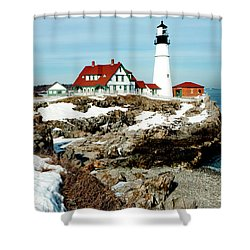 Winter At Portland Head Shower Curtain by Greg Fortier