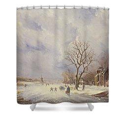 Winter Canal Scene Shower Curtain by Jan Lynn