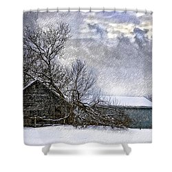 Winter Farm Shower Curtain by Steve Harrington