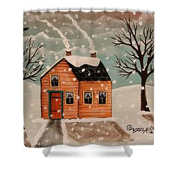 Winter House Shower Curtain by Karla Gerard