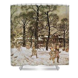 Winter In Kensington Gardens Shower Curtain by Arthur Rackham