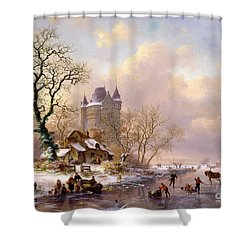 Winter Landscape With Castle Shower Curtain by Frederick Marianus Kruseman