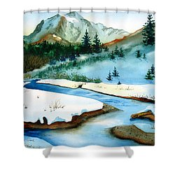 Winter Retreating Shower Curtain by Karen Stark