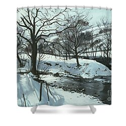 Winter River Shower Curtain by John Cooke