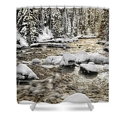 Winter River Shower Curtain by Leland D Howard