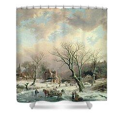 Winter Scene   Shower Curtain by Johannes Petrus van Velzen