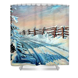 Winter Snow Tracks Shower Curtain by Hanne Lore Koehler