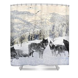 Winter Wolves Shower Curtain by Lourry Legarde