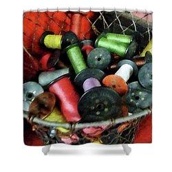 Wire Basket With Thread Shower Curtain by Susan Savad