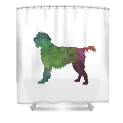 Wirehaired Pointing Griffon Korthals In Watercolor Shower Curtain by Pablo Romero