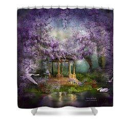 Wisteria Lake Shower Curtain by Carol Cavalaris
