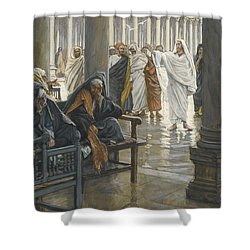 Woe Unto You Shower Curtain by Tissot