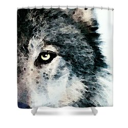 Wolf Art - Timber Shower Curtain by Sharon Cummings