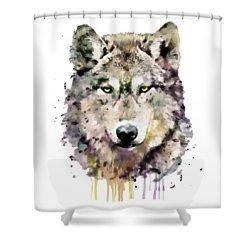 Wolf Head Shower Curtain by Marian Voicu
