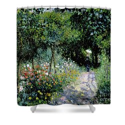 Woman In A Garden Shower Curtain by Pierre Auguste Renoir
