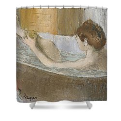 Woman In Her Bath Shower Curtain by Edgar Degas