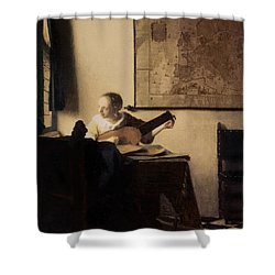 Woman With A Lute Shower Curtain by Jan Vermeer